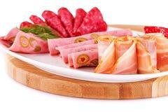Salami, mortadella and bacon Stock Image