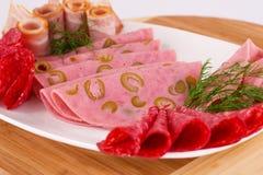 Salami, mortadella and bacon Royalty Free Stock Photography