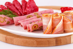 Salami, mortadella and bacon Stock Image