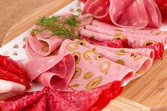 Salami, mortadella and bacon Stock Photography