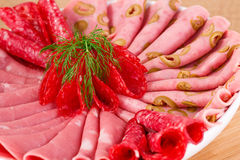 Salami, mortadella and bacon Royalty Free Stock Photography