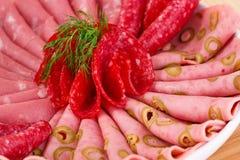 Salami and mortadella Stock Image