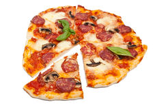 Salami and Mushroom Pizza Royalty Free Stock Images