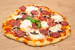 Salami and Mushroom Pizza Stock Photography