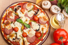 Salami, Mushroom and Vegetable Pizza Stock Photo