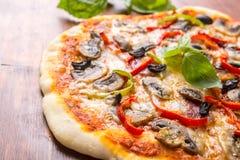 Salami, mushroom and vegetable pizza royalty free stock image
