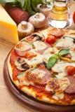 Salami, mushroom and vegetable pizza Stock Images