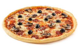 Salami and mushrooms pizza Royalty Free Stock Images