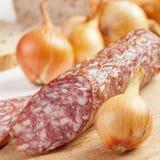 Salami and onions Stock Photos