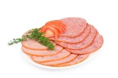 Salami op een plaat met venkel Stock Afbeeldingen