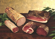 Salami and other italian sausages Royalty Free Stock Photos