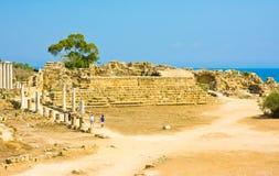 SALAMI PÓŁNOCNY CYPR, SIERPIEŃ, -, 28: Ruiny antyczny teatr w grodzkich salami, Północny Cypruson Sierpień, 28, 2013 w salami, Tur Zdjęcie Royalty Free