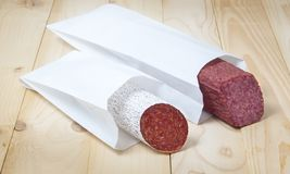 Salami package Stock Photos