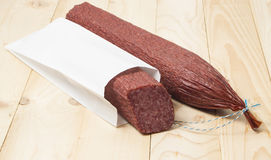 Salami package. Royalty Free Stock Photo
