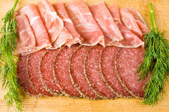 Salami and parma ham Royalty Free Stock Photography