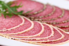 Salami with parmesan and pepper crust Stock Photography