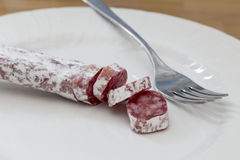 Salami party and fork Royalty Free Stock Photography