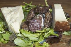 Salami and pecorino. Composition of italian salami and pecorino Stock Image