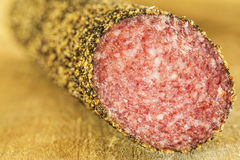 Salami with pepper Royalty Free Stock Photos