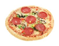 Salami pizza Royalty Free Stock Images