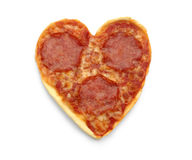 Salami Pizza in heart shape, isolated Stock Images