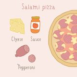 Salami pizza ingredients. Vector EPS 10 hand drawn illustration royalty free illustration