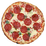 Salami Pizza, isolated Stock Images