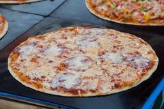 Salami pizza. Koh Phangan's walking street market, street food Stock Image