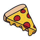 Salami pizza slice. Pizza doodle drawing, slice of pizza with cheese and pepperoni. Vector illustration drawing Royalty Free Stock Image