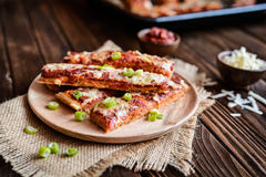 Salami pizza sticks Royalty Free Stock Image