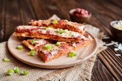 Salami pizza sticks Royalty Free Stock Photography