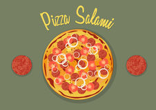 Salami Pizza with tomatos, onion, pineapple and mozzarella Royalty Free Stock Photography