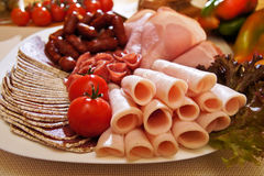 Salami plate Royalty Free Stock Image