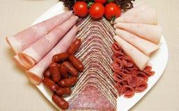 Salami plate Stock Images
