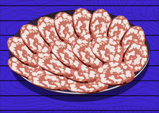 Salami on the plate, vector illustration Royalty Free Stock Photography
