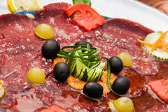 Salami platter Stock Photo