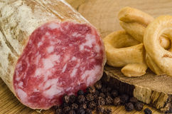 Salami with poivre and bagels Royalty Free Stock Photo
