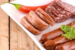 Salami and red pepper Stock Photo