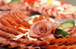 Salami rose. Food background with nice rose from salami royalty free stock photos