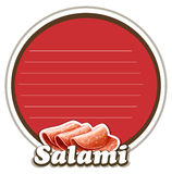 Salami on round badge Stock Photo