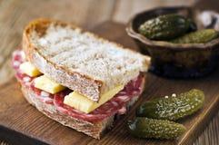 Salami sandwich Stock Photos