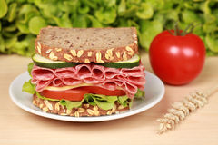 Salami Sandwich. Fresh sandwich with salami, cheese and lettuce on a wooden table stock photo