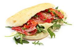 Salami Sandwich Royalty Free Stock Photography