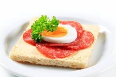 Salami sandwich Royalty Free Stock Photo