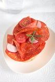 Salami sandwich Royalty Free Stock Image