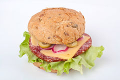 Salami Sandwich in Burger Bun Stock Image