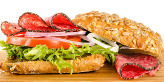 Salami sandwich with full-corn bread Stock Images
