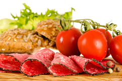 Salami sandwich ingredients Royalty Free Stock Photos