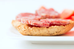 Salami sandwich on plate Stock Photography