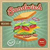 Salami sandwich poster Royalty Free Stock Photos